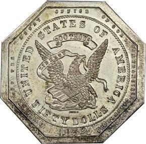 1852 SILVER OBV U.S. ASSAY K-1a RESTRIKE $50 MS obverse