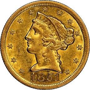 1851 O $5 MS obverse