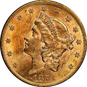 1873 OPEN 3 $20 MS obverse