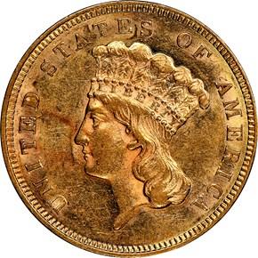 1860 $3 MS obverse