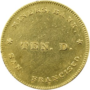 (1849) MINERS BANK $10 MS reverse
