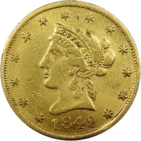 "1849 ""TEN D."" MOFFAT & CO. $10 MS obverse"