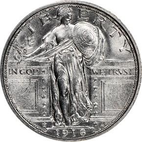 1916 STANDING 25C MS obverse
