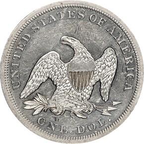 1859 S $1 MS reverse