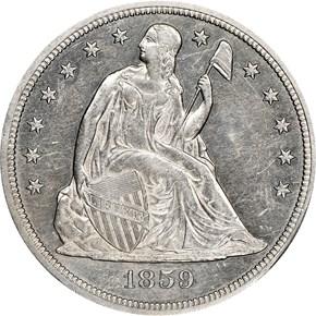 1859 S $1 MS obverse