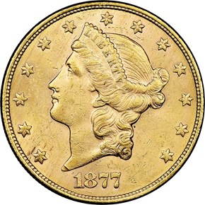 1877 S $20 MS obverse