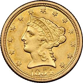 1854 O $2.5 MS obverse