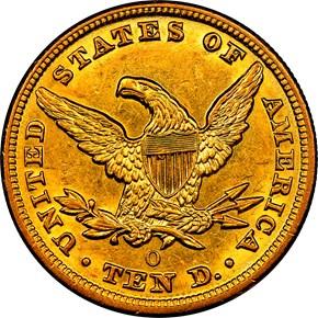 1853 O $10 MS reverse