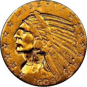 1909 D $5 MS obverse
