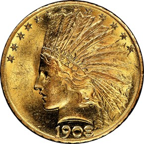 1908 MOTTO $10 MS obverse