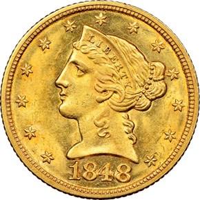 1848 $5 MS obverse