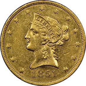 1851 $10 MS obverse