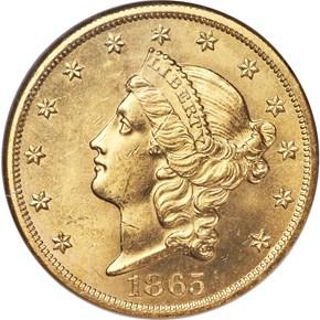 1865 $20 MS obverse