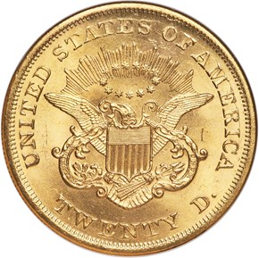 1865 $20 MS reverse
