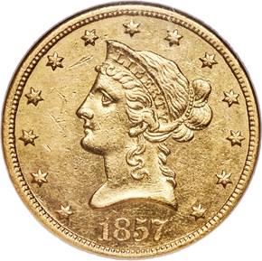 1857 S $10 MS obverse
