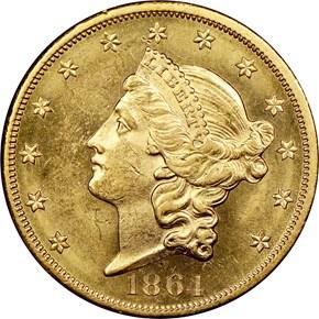 1864 $20 MS obverse