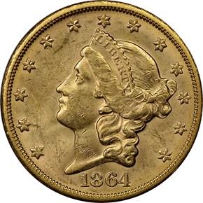 1864 S $20 MS obverse