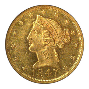 1847 O $5 MS obverse