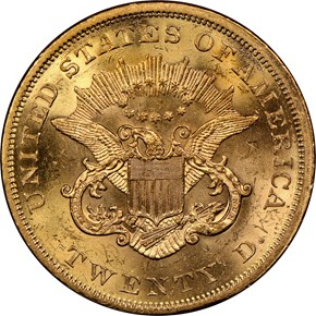 1863 $20 MS reverse