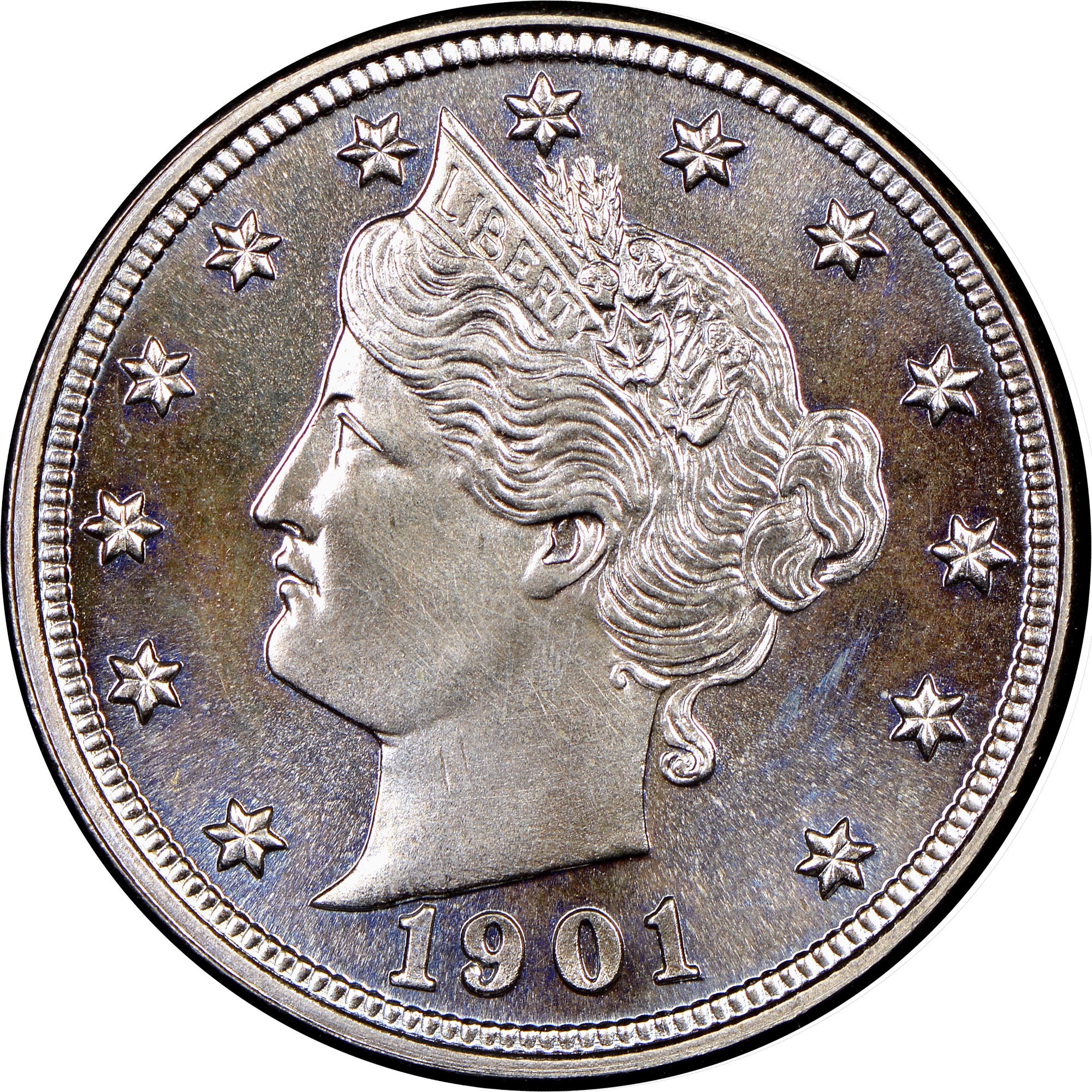 1901 5 cent coin