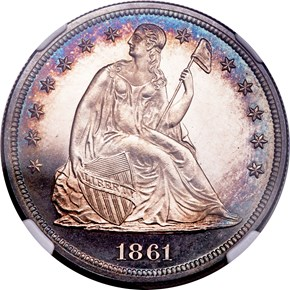 1861 $1 PF obverse
