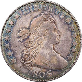 1806 OVER INVERTED 6 50C MS obverse