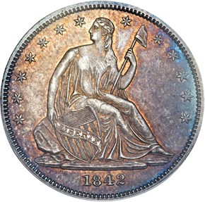1842 SM DATE SM LET 50C MS obverse