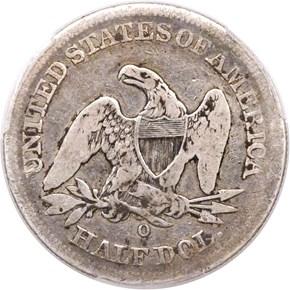 1853 O NO ARROWS 50C MS reverse