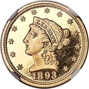 1893 $2.5 PF obverse