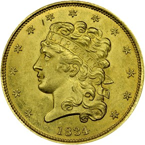 1834 PLAIN 4 CLASSIC $5 MS obverse