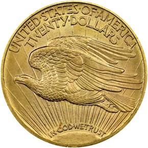 1908 MOTTO $20 MS reverse