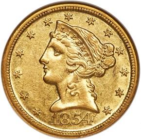 1854 D $5 MS obverse