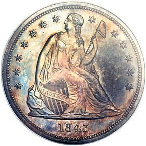 1843 $1 PF obverse