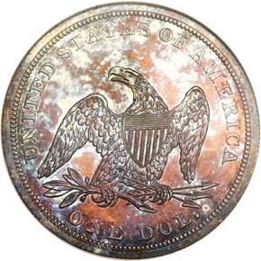 1843 $1 PF reverse