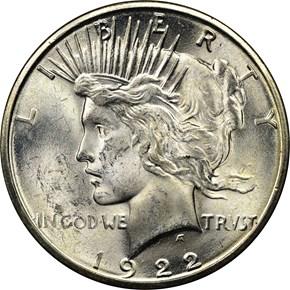 1922 S S$1 MS obverse