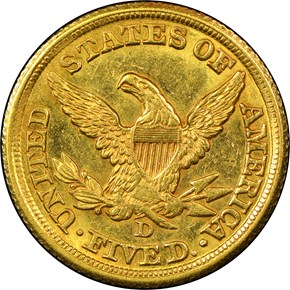 1858 D $5 MS reverse