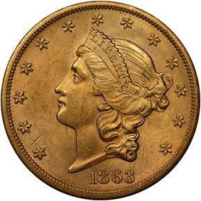 1863 S $20 MS obverse