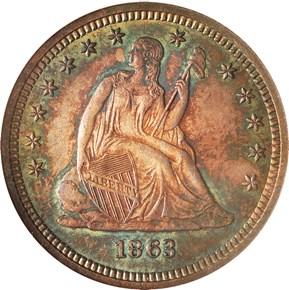 1863 25C MS obverse