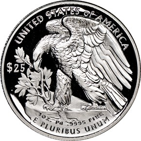 2018 W Eagle High Relief Pd$25 PF reverse