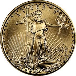 2006 W EAGLE BURNISHED GOLD EAGLE G$5 MS obverse