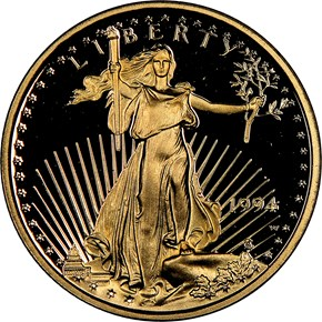 1994 W EAGLE G$5 PF obverse