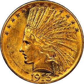 1913 $10 MS obverse