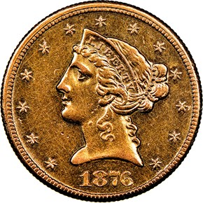 1876 CC $5 MS obverse