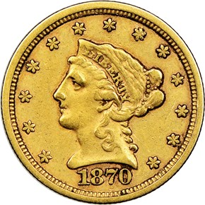 1870 S $2.5 MS obverse