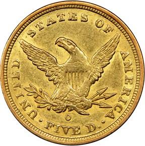 1840 O $5 MS reverse