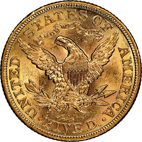 1901 $5 MS reverse