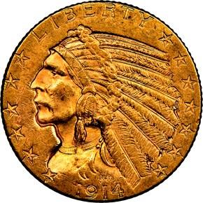 1914 D $5 MS obverse