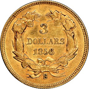 1856 S $3 MS reverse