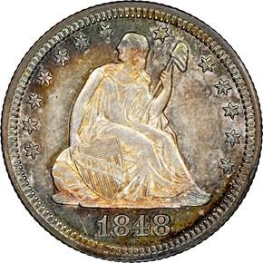 1848 25C MS obverse