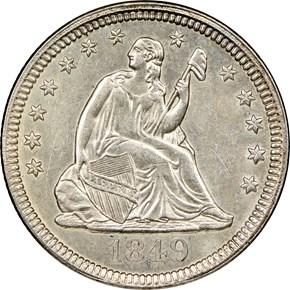 1849 25C MS obverse